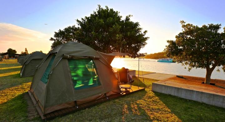 Cockatoo Island glamping sunset