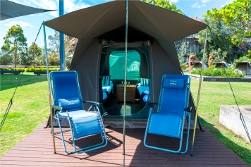 Glamping tent, Cockatoo Island. Credit Geoff Magee